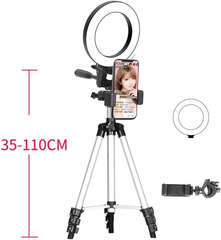 LED Mobile Phone Live Broadcast Triangle Bracket with Fill Light,Desktop Floor-Standing HD Beauty Light XG Inc Macro /& Ringlight Flashes Color : Single+Remote Control, Size : 35-110cm