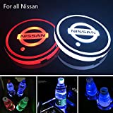 Nissan Altima Accessory Lighting - Zhengyong Auto 2PCS LED Car Logo Cup Holder Lights for Nissan ,Waterproof Bottle Drinks Coaster Built-in Light 7 Colors Changing USB Charging Car Interior Accessories (Nissan)