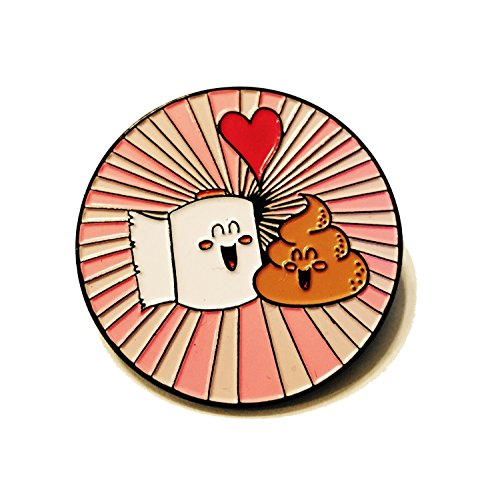 [Metal Lapel Pin - Best Friend Poop Poop and Toilet Paper in Love Funny Logo] (Captain America Uniform)