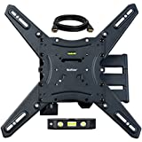 QualGear  QG-TM-021-BLK Universal Ultra Slim Low Profile Articulating Wall Mounting Kit for most 23-inch to 47-inch and some 55-inch LED TVs, w/ HDMI v1.4 Cable 10 ft and 3-Axis Magnetic Bubble Level