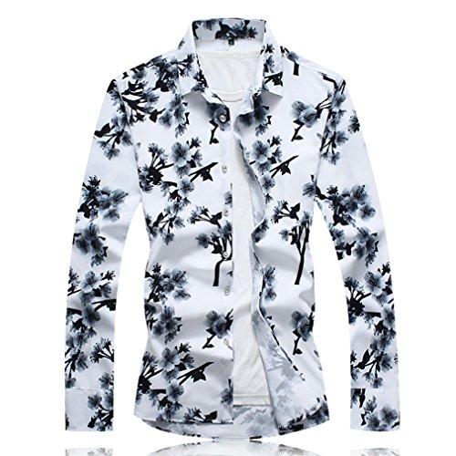 予測するラップトップお別れHonghu メンズ 秋 スリム 長袖 ボタンダウン 花柄 プリント カジュアル シャツ