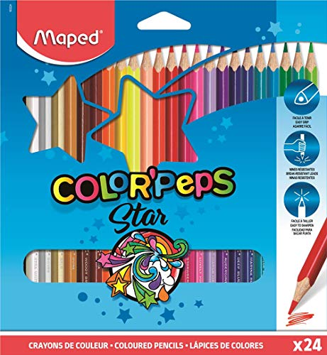 Maped Color'Peps Triangular Colored Pencils, Assorted Colors, Pack of 24 (183224ZV) (Maped Color Peps)