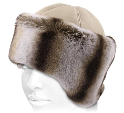 K.Tsanikidis Women's Svetlana Leather Fur Cossack Hat Size 57 Cm by K.Tsanikidis