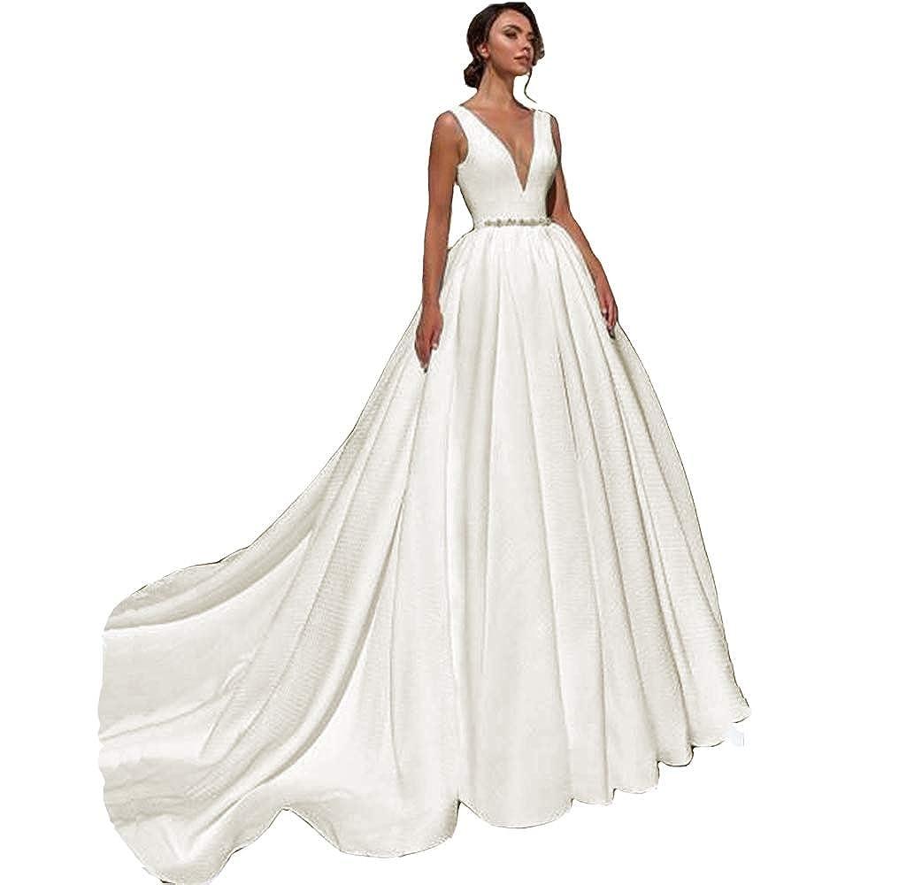 Ivory KaBuNi V Neck Backless Aline Wedding Dresses with Cathedral Train