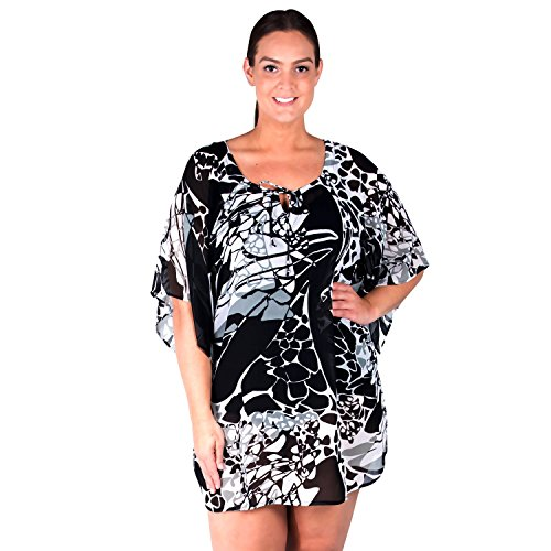 (Peppermint Bay Swimsuit Cover-up, Black and White Plus Size Cover-up)