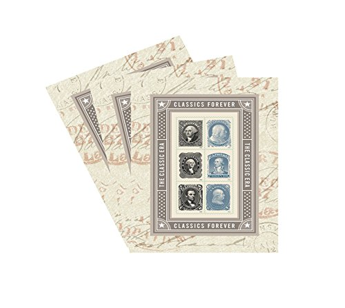 The Classic Era Souvenir Sheet of 6 Forever USPS Postage Stamps Patriotic, Historic, George Washington, Benjamin Franklin, Abraham Lincoln (3 Sheets of 6 stamps)
