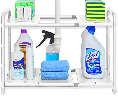 Simple Houseware Under Sink 2 Tier Expandable Shelf Organizer Rack, White (Expand from 15 to 25 inches)