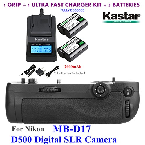 Kastar Pro Multi-Power Vertical Battery Grip (Replacement for MB-D17) + 2x EN-EL15 Replacement Batteries + Ultra Fast Charger Kit for Nikon D500 Digital SLR Camera by Kastar