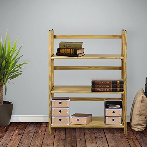"""Casual Home 3-Shelf Folding Stackable Bookcase (27.5"""" Wide)-Natural"""