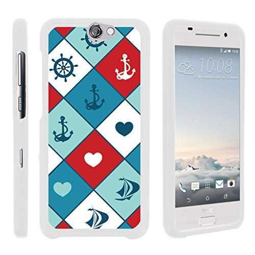 Htc Diamond Design Snap - HTC One A9 Case | HTC Aero Case [Slim Duo] Hard Shell Snap On Case Compact Fitted Cover Matte Finish on White Sea Ocean Design by TurtleArmor - Sea Ship Diamond Pattern