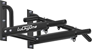 Luckyone Wall Mounted Pull Up/Chin Up Bar with Bearing Frame Design for Indoor Workout/Home Gym, Maximum Weight 440 Lbs