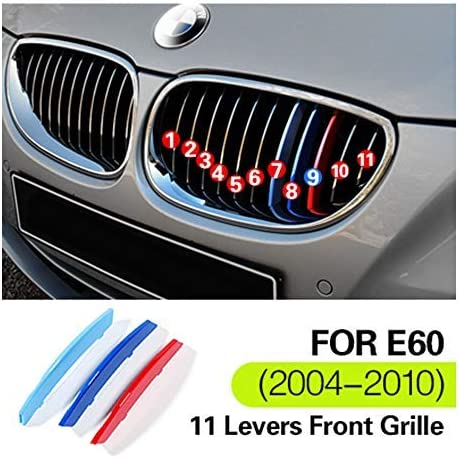 9 Beams //////M-Colored Stripe Grille Insert Trims Front Grill Stripes Covers For 2018-up G30 G31 G38 5 Series 520i 530i 530e 540i M550i 520d 525d 530d 540d