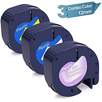Compatible DYMO Letratag Refills Tape for DYMO Letratag Label Makers, Black Print on Clear/White/Yellow Plastic Tape (16952 91331 91332), 1/2'' W x 13' L, 3 Rolls