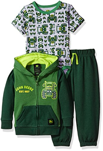 John Deere Baby Boys' 3 Piece Jacket Bodysuit Pant Set, Green, 3-6 Months