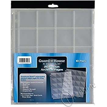 20 Pocket Guard House Thumb Cut Coin Pages Storage Archival 2x2 LOT OF 50