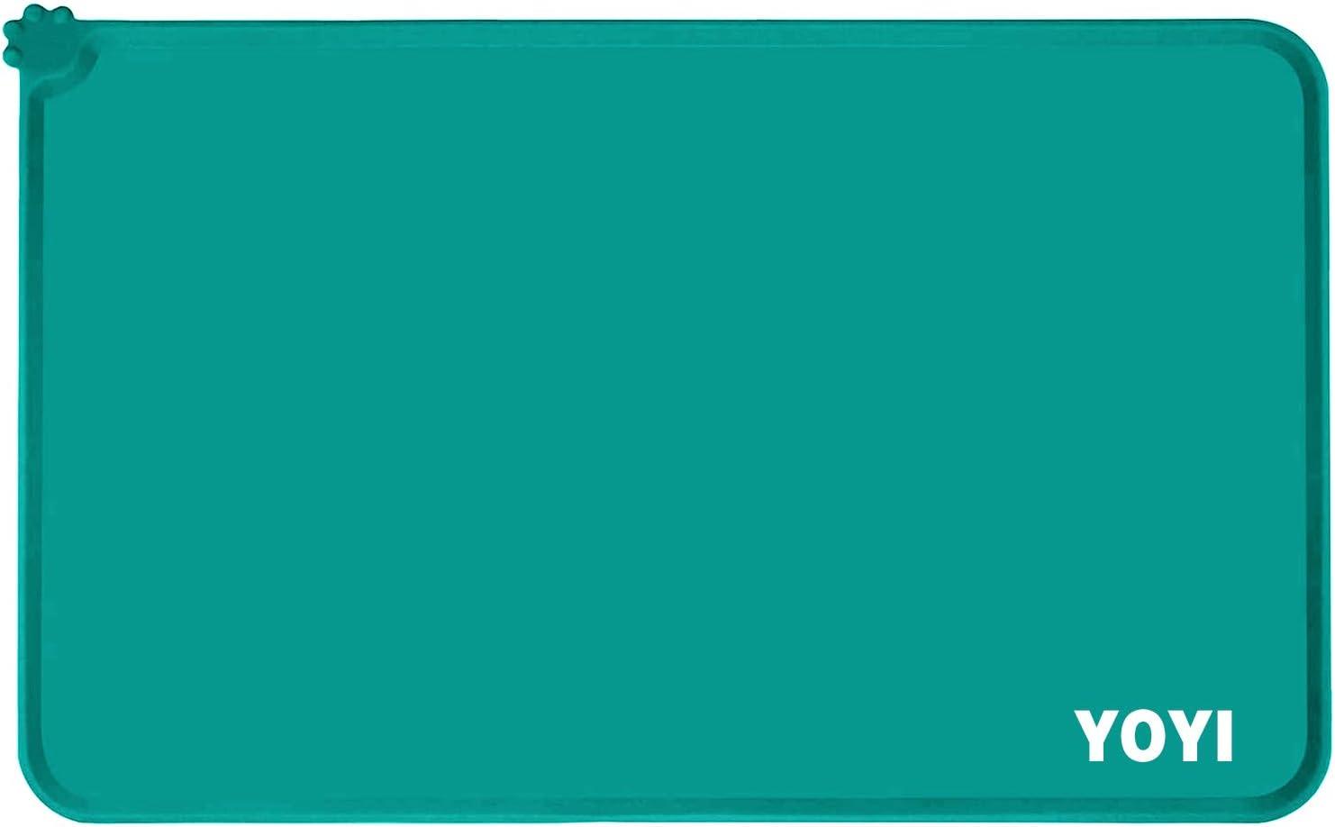 PinRui YOYI Dog Cat Food Mat,Anti-Slip Pet Bowl Mats,Silicone Dog Bowl Mat,Pet Feeding Mat, Nonslip Pet Food Mat,Washable Dog Mat for Food and Water, Waterproof Dog Food Mats for Floors