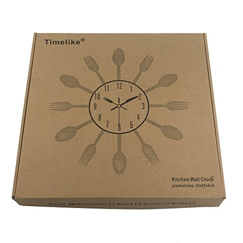 Timelike Kitchen Wall Clock, 3D Removable Modern Creative Cutlery Kitchen Spoon Fork Wall Clock Mirror Wall Decal Wall… 6
