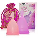 Fairyfox Cup Menstrual Set of 2 Cups, with 1 Brocade Bag (Large Purple&Small Pink)