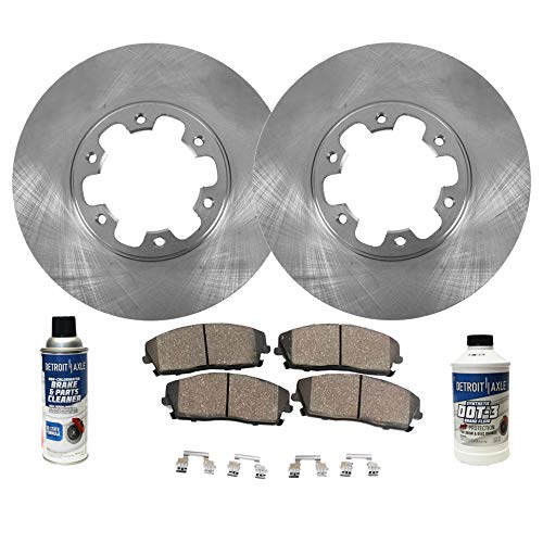 Detroit Axle - Pair (2) Front Disc Brake Rotors w/Ceramic Pads w/Hardware & Brake Cleaner & Fluid for 1998 1999 2000 2001 2002 2003 Infiniti QX4 - [98-04 Nissan Pathfinder]