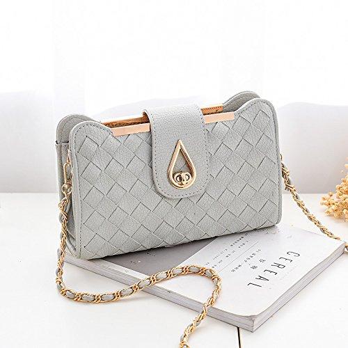 OME&QIUMEI Bolsa Pequeña Cadena Femenina Slant Bolsa Bolso Único (26*7.5*15Cm) Un Arroz Blanco B gris