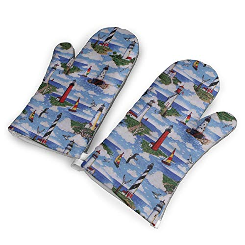 WanKaoo Lighthouses Scene Big Sable Heat Resistant to 500?? F,1 Pair of Non-Slip Kitchen Oven Gloves for Cooking,Baking,Grilling,Barbecue Potholders Oven Mitts -