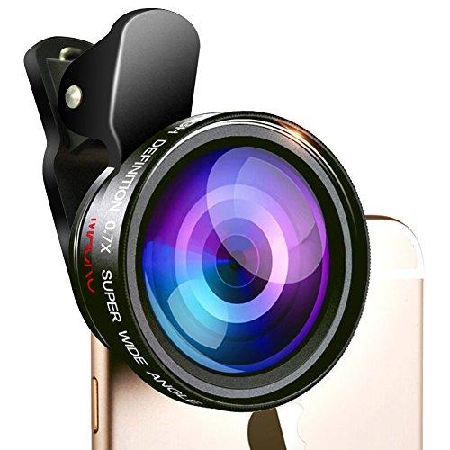 0.7X Super Wide Angle Lens + 12X Macro Lens, Milocos [Upgraded Version] 2 in 1 P…