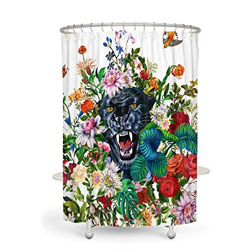 (Shower Curtain MACOFE 3D Shower Curtain Floral Shower Curtain Mildew Resistant Polyester Fabric, Waterproof, Machine Washable,Hooks Included,Animal Shower Curtain Original Design Hand Drawing,71x71in)