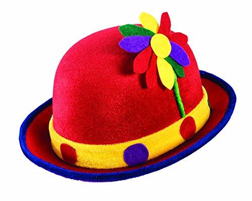 Forum Novelties Red Clown Derby Hat w/ Flowers - Flower Clown Costume Accessories