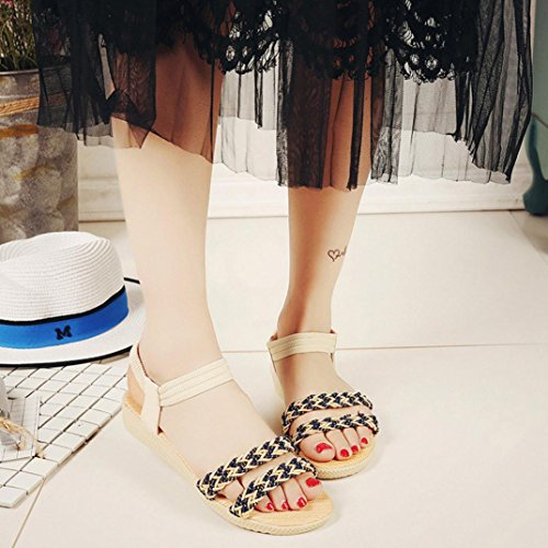 Elevin (tm) Kvinnor Sommarens Mode Blommor / Bandage / Randig Bohemia Peep-toe Platta Flip Flop Sandal Skor Beige 1