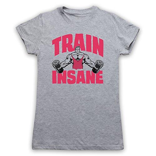 Train Insane Gym Workout Slogan Camiseta para Mujer Gris Claro