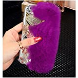 Yaheeda For Apple iphone 6/6S, Bling Crystal Flowers Fluffy Cover Rex Rabbit Fur Case Winter Handmade Soft Crystal Case Shell Creative