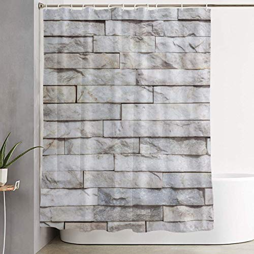 Stacked Stone Bath Shower Curtain Waterproof Bathroom Decor Curtain with Hooks 35