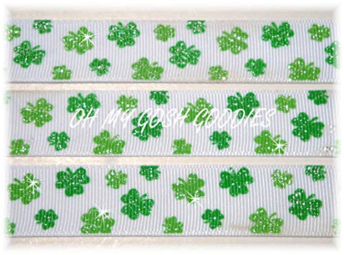 Ribbon Art Craft Perfect Solution for Any Project Decoration 1 Yard 7/8 Glitter Shamrocks ST Patrick Green Irish Grosgrain Ribbon 4 HAIRBOW Bow