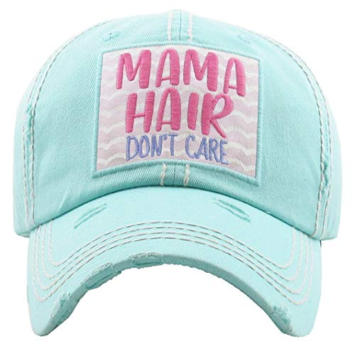 (H-212-MHDC54 Distressed Baseball Cap Vintage Dad Hat - Mama Hair Don't Care)