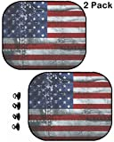 MSD Car Sun Shade Protector Side Window Block Damaging UV Rays Sunlight Heat for All Vehicles, 2 Pack Grunge American Flag Image 4341286 Customized Tablemats Stain Resistance Collector Kit