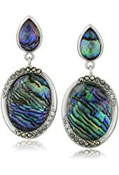 """Judith Jack """"Abalone Enchantment"""" Sterling Silver Abalone Marcasite Post Drop Earrings"""