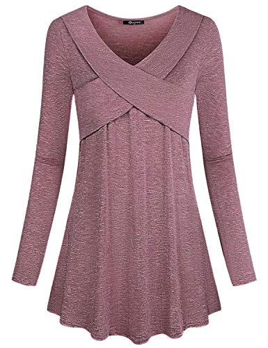 Quinee Women Autumn V Neck Long Sleeve Criss Cross Casual Blouse Tunic Top