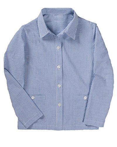 National Stripe Seersucker Jacket, Blue, Petite Large (Jacket Cotton Seersucker)