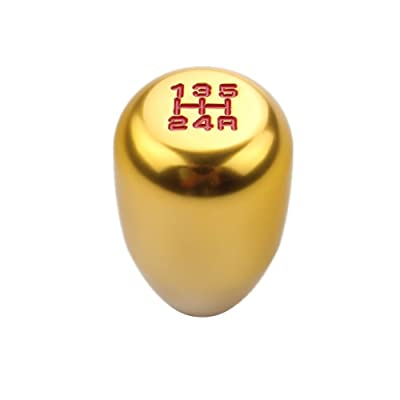 DEWHEL 5 Speed Manual Gearbox Shift Knob M12x1.25 Screw On Aluminum Gold: Automotive [5Bkhe0402602]