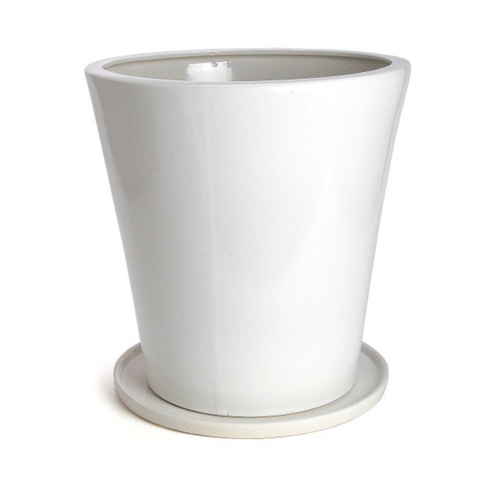 鉢 KANEYOSHI 陶器 8号 白 植木鉢 鉢カバー ホワイト 24cm M 【受皿付き】 B072KJV5B5 M (受皿付き)  M (受皿付き)