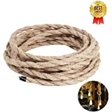 Rope Light Cord, 16.4ft Linen Covered Copper Wire 18/2 Round Vintage Twisted Cloth Cable Antique Industrial Lamp Rope for DIY Pendant Light