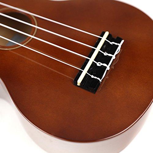 Soprano Ukulele For Beginners Four String Ukulele Start Pack W/ Gig Bag Tuner Picks Polish Cloth Extra Strings (Brown) - Image 8