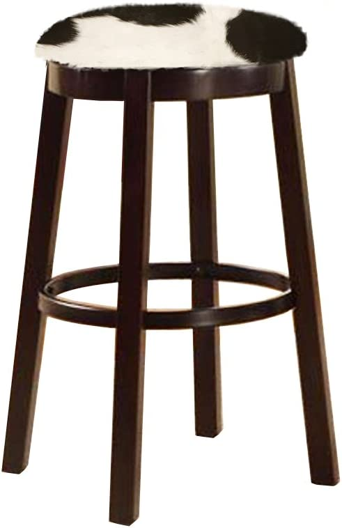 The Furniture Cove Western Style 24 Tall Espresso Wood and Metal Bar Game Room Kitchen Swivel Bar Stool with Your Choice of an Authentic Cowhide Covered Seat Cushion Black and White Dairy