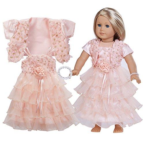 [해외]45.72cm 인형 의류(완벽한 이브닝 드레스 세트 라이트 핑크 숄 라이트 이브닝 드레스 펄 팔찌) 미국 소녀 인형에 맞음 / 18 Inch Doll Clothes - Complete Evening Dress SetAccessories Including Light Pink Shawl,Light Evening Dress,Pearl Brac...