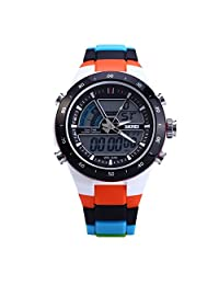 Happy Hours - Stylish Unisex Waterproof Sport Watch / Dual Time Led Analog-Digital Display / Outdoor Wristwatch with Noctilucent Function(Orange)