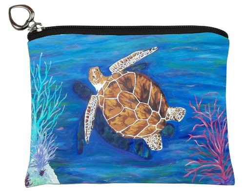 Salvador Kitti Change Purse, Vegan Coin Purse - Animals - from My Original Paintings - Support Wildlife Conservation, Read How (Loggerhead Sea Turtle - The Pilgrim)