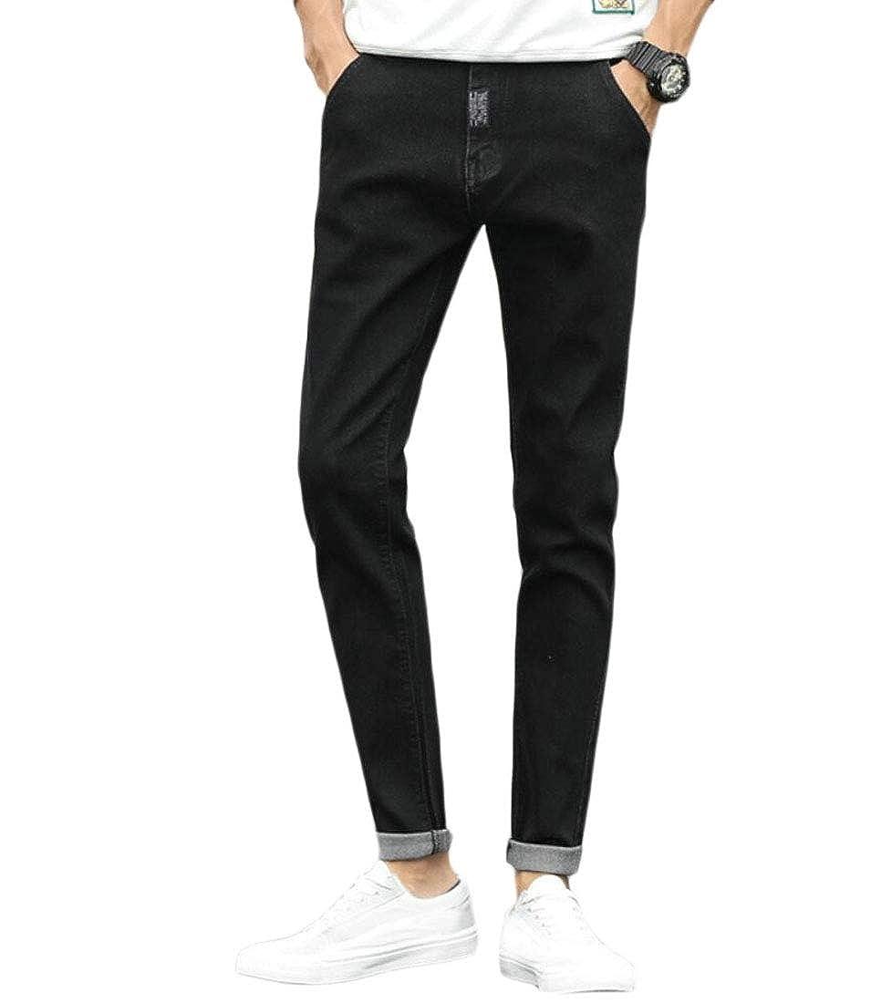 WSPLYSPJY Mens Casual Slim Jeans Harem Solid Color Fleece Thick Denim Pants