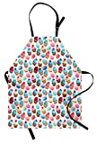 Lunarable Colorful Apron, Macarons and Cupcakes with Berries on Top Delicious Deserts Pastries Illustration, Unisex Kitchen Bib Apron with Adjustable Neck for Cooking Baking Gardening, Multicolor