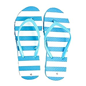 DollarMaxVI Women's Flip Flops Striped Pastel Blue (Large)