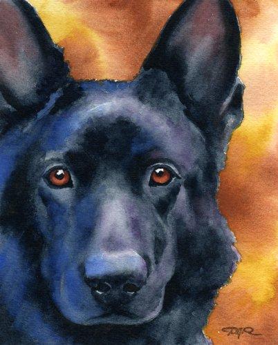 (Black German Shepherd Art Print by Watercolor Artist DJ Rogers)